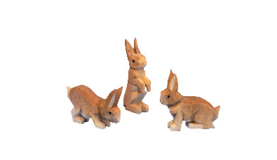 Three Hand-Carved Rabbits