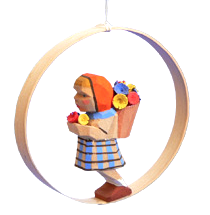 Girl with Flowers in Shaved-wood Ring Ornament