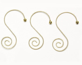 Spiral, gold-colored, Christmas Ornament Hangers / Hooks