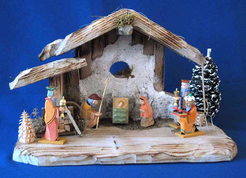 Bavarian Crib - Nativity - Creche Set Stable, Helbig Figures, Trees, etc.