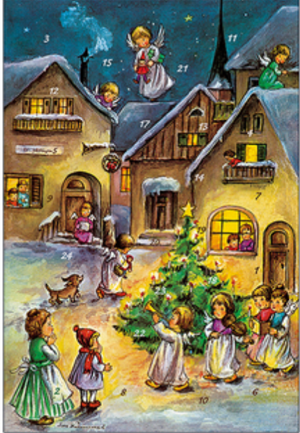 Angel Village Advent Calendar / GREETING CARD