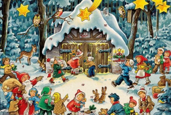 Santa with Children Advent Calendar / GREETING CARD