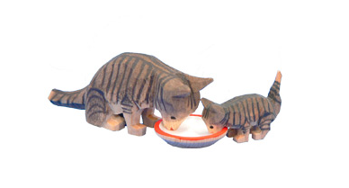 A Tabby Cat and her Kitten Drinking from a Bowl of Milk