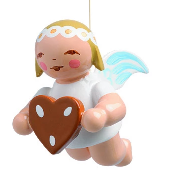 Small Flying / Suspended Marguerite Angel with Gingerbread Heart - 1""