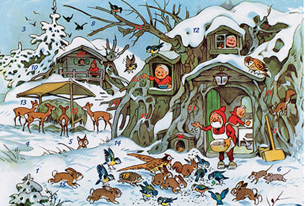 Elves in the Forest Feeding the Animals Advent Calendar Card / GREETING CARD
