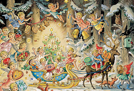 Angels Celebrating Christmas Advent Calendar / GREETING CARD