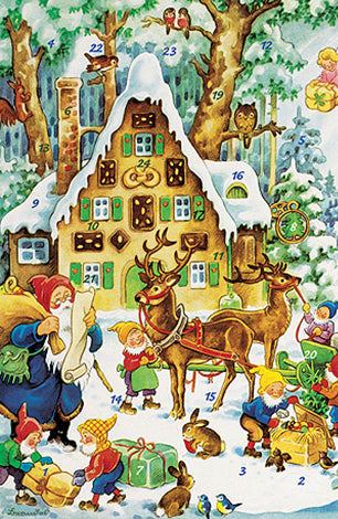 Santa in the Forest with his Elves Advent Calendar / GREETING CARD