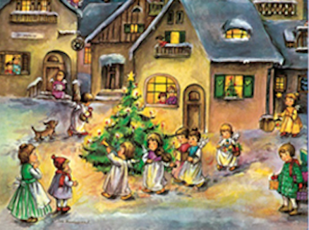 Angel Procession Advent Calendar / GREETING CARD