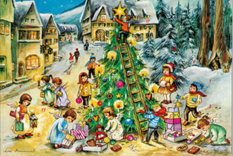 Angels Decorating the Christmas Tree Advent Calendar / GREETING CARD