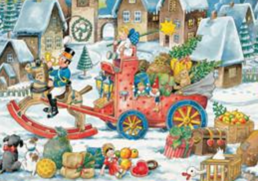 Toy Soldier on Rocking Horse with Sleigh Advent Calendar / GREETING CARD