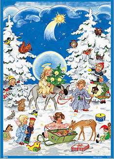 Angels with Children and Forest Animals - Advent Calendar