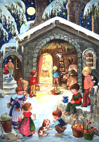 Children Waiting at the Nativity Stable - Advent Calendar