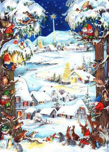 Village Scene with Woodland Animals and Dwarfs - Advent Calendar