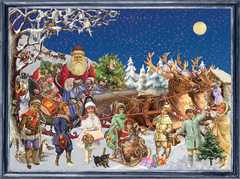 Santa's Sled with Victorian Children - Advent Calendar GREETING CARD