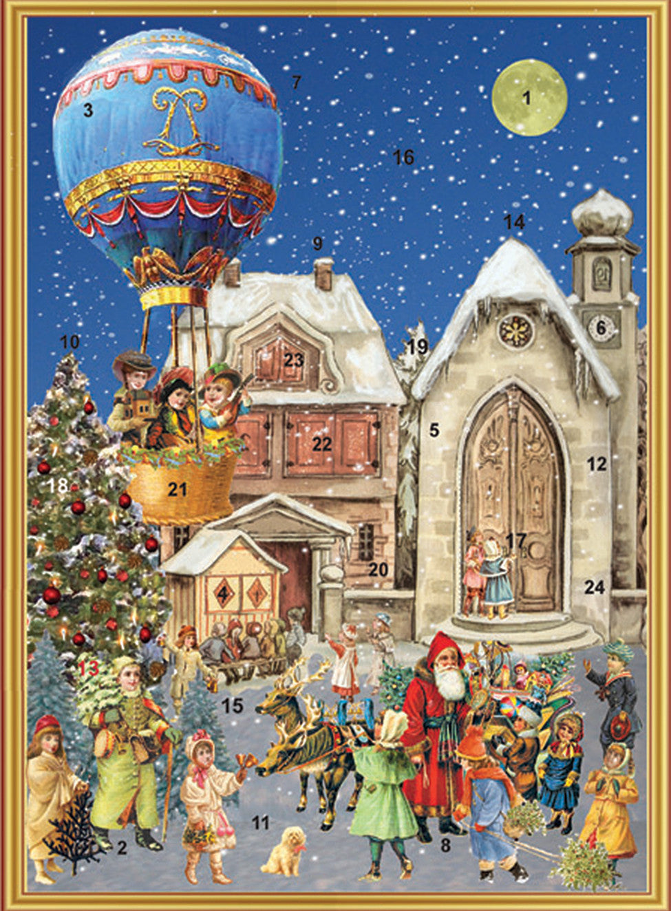 Santa Greeting Victorian Children at Town Center with Balloon - Advent Calendar GREETING CARD