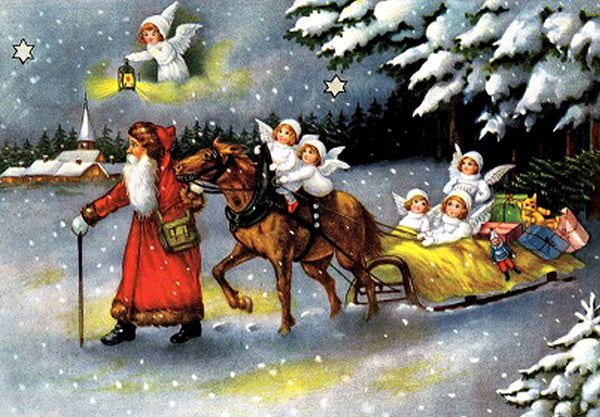 Santa and Angels with Horse Drawn Sled - Advent Calendar