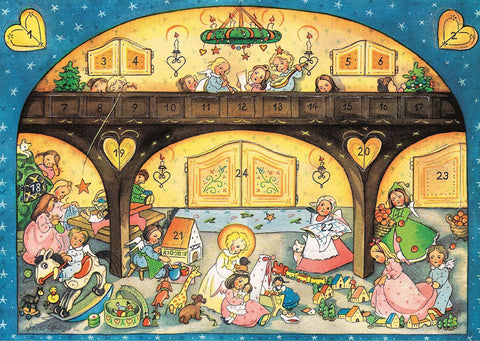 Angels with Children on Christmas Eve - Advent Calendar