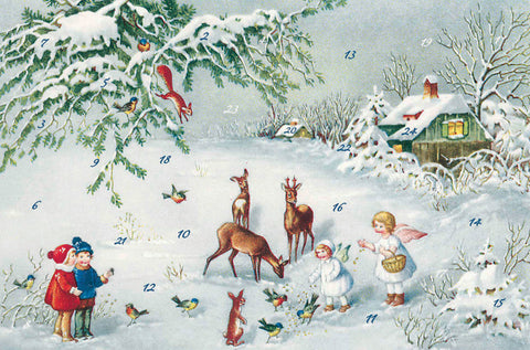 Children and Angels Playing with Wildlife - Advent Calendar