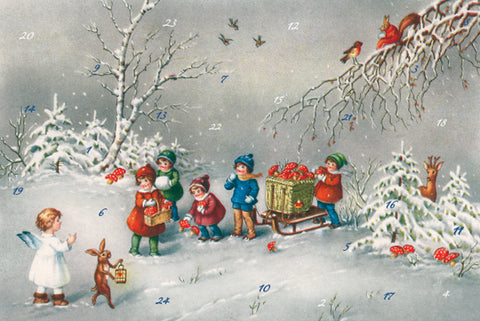Children and Angels Gathering Mushrooms - Advent Calendar