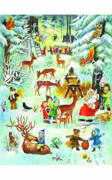 Santa and Children Playing in the Forest - Advent Calendar