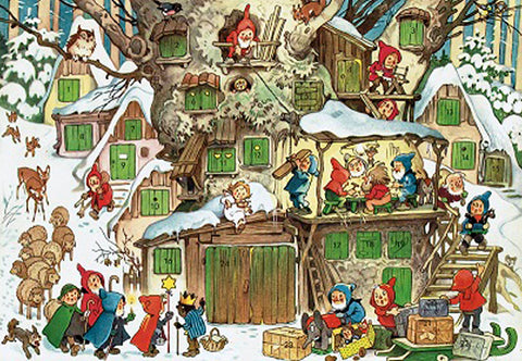 Woodland Village of Elves Preparing for Christmas - Advent Calendar
