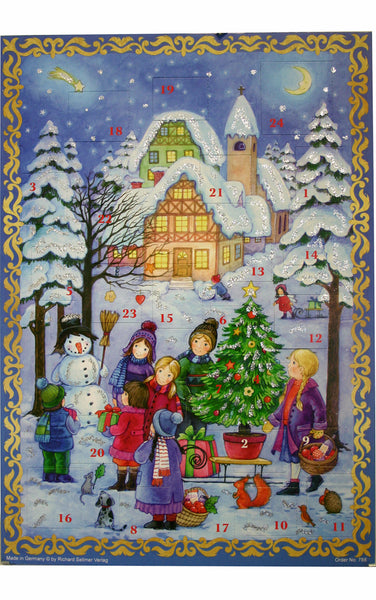 Christmas Winter Scene - Children / Snowman / Christmas Tree - Advent Calendar