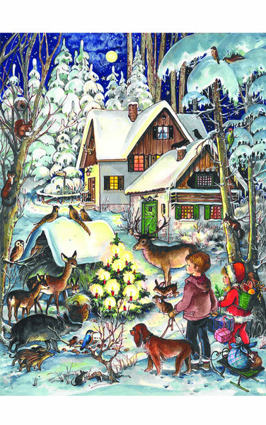 Celebrating Christmas - Children with Friendly Woodland Animals - Advent Calendar