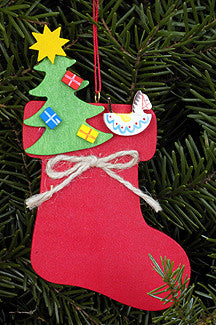 Christmas Stocking with Tree and Rocking Horse - 4-1/2""