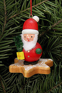 Santa on a Gingerbread Star Cookie - 2-1/2""