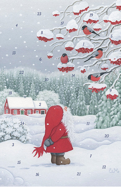 Tomten and the Bullfinches Advent Calendar GREETING CARD / Eva Meluish