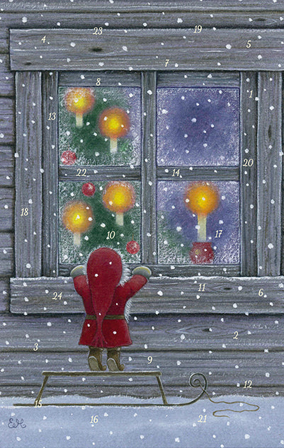 Tomten's Tree Advent Calendar GREETING CARD / Eva Melhuish