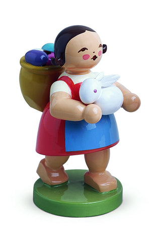 Girl with a Bunny and a Basket filled with Eggs