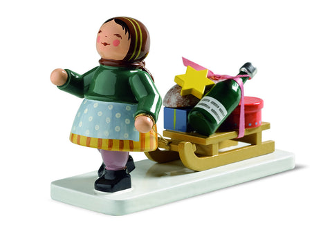 Winter Kinder - Girl with Sleigh