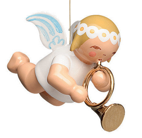 Small Flying Marguerite Angel with French Horn - 1""