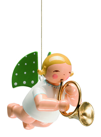 Flying / Suspended Grünhainichen Angel with French Horn - 2""