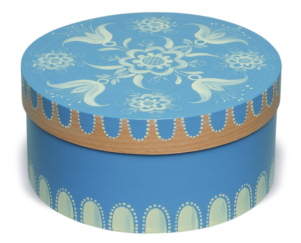 Small Round Blue Floral Splinter Box