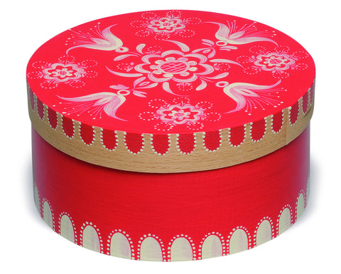 Small Round Red Floral Splinter Box