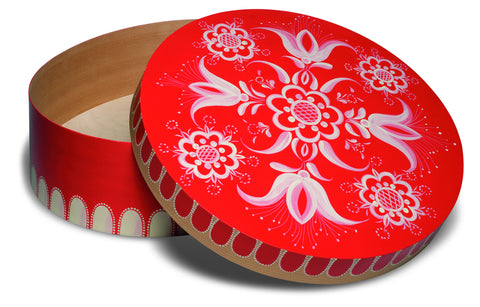 Large Round Red Floral Splinter Box