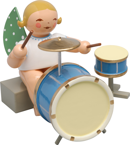 Angel Orchestra Seated Musician with two-piece Percussion Drums - New 2016
