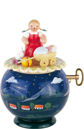 Girl with Baby Buggy and Rabbit / Evening Song  / Wendt and Kühn 18 Note Music Box / Special Order