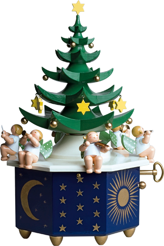 Grünhainichen Angel Christmas Tree / Wendt and Kühn 36 Note Music Box
