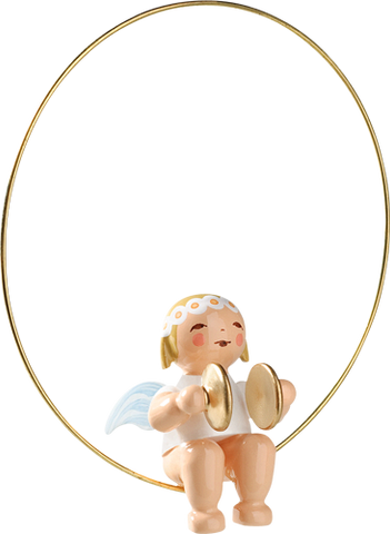 Angel with Cymbals in a Ring Ornament