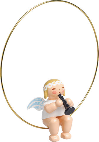 Angel with Clarinet in a Ring Ornament