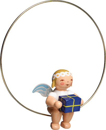 Angel with a Gift in a Ring Ornament