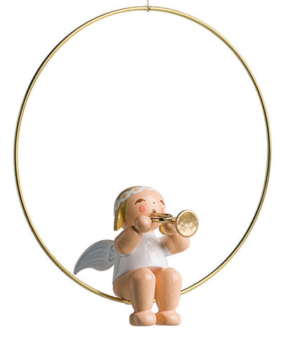 Angel with a Trumpet / Horn in a Ring Ornament