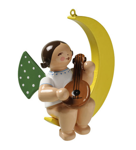 Angel on the Moon with Mandolin - Ornament