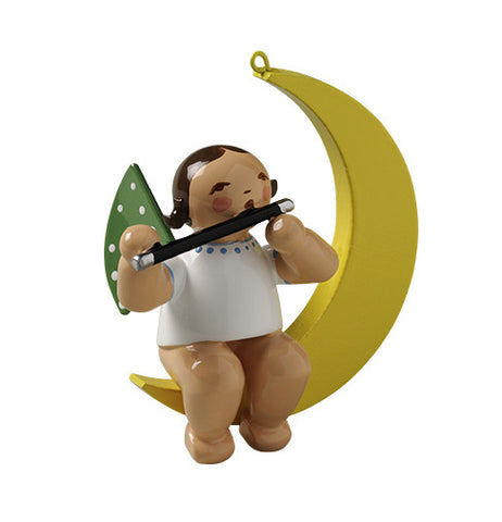 Angel on the Moon with a Flute - Ornament