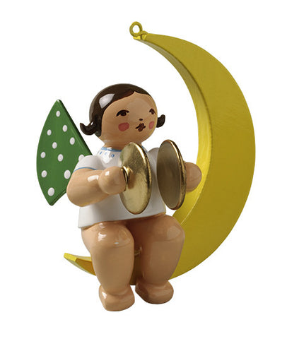 Angel on the Moon with Cymbals - Ornament
