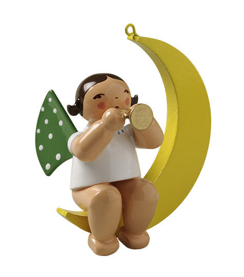 Angel on the Moon with a Little Trumpet - Ornament
