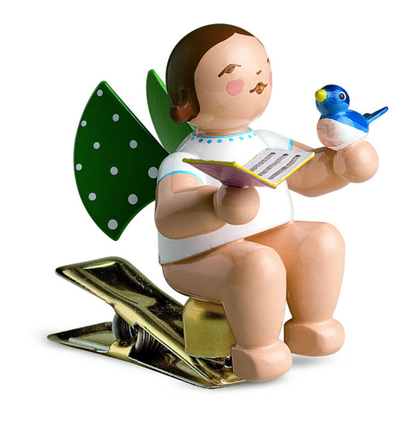 Clip-on Angel with a Sheet of Music / Songbook and a Bird